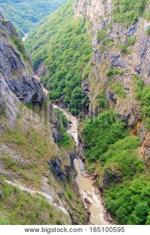 Very sheer canyon in Kabardino-Balkaria in spring