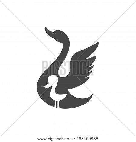 Ugly Duckling, vector graphic illustration logo, isolated on white background.