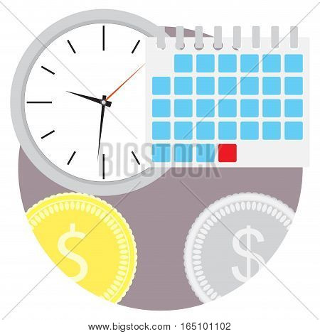 Planning time money icon. Plan budget financial planning vector illustration