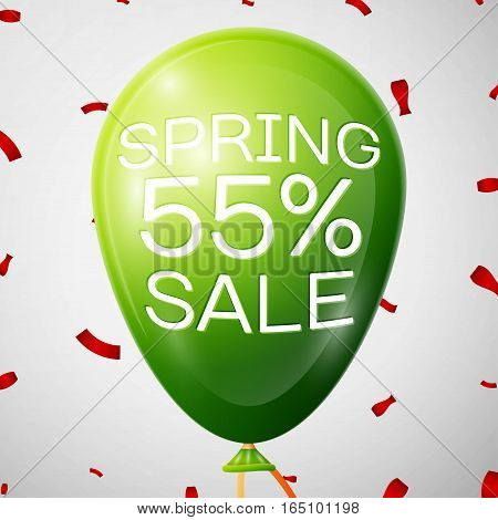 Green Balloon with 55 percent Discounts. SALE concept for shops store market, web and other commerce. Vector illustration.