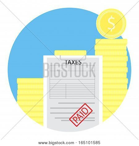 Taxes paid icon. Taxation economic accounting income financial. Vector illustration