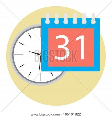 Business time icon. Clock and calendar management and planning time. Vector illustration