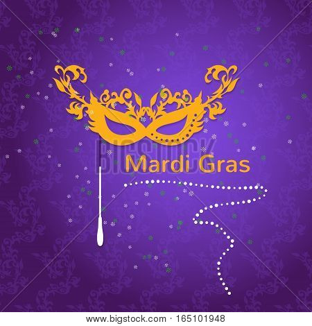 Mardi Gras Party Mask Poster. Vector illustration, luxury beautiful concept with yellow mask and purple background for poster, greeting card, party invitation, banner, flyer to other design.
