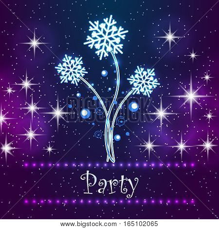 Merry Christmas Party Card. Invitation greeting card for xmas party. Snowflakes on the night star sky background.