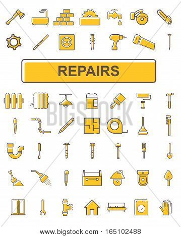 Linear icons that partially painted. Topic icons - repair.
