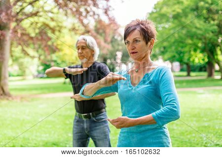 Senior couple doing tai chi in public park, Tuebingen, Germany
