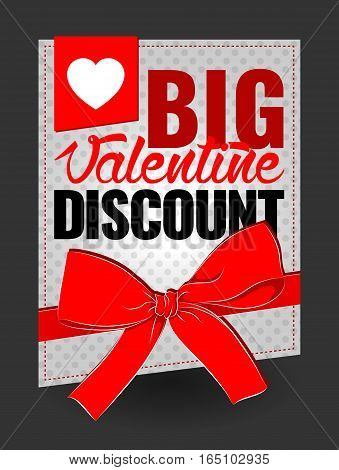 big valentine discount sign for sticker, flayer, card, sign, vector illustration