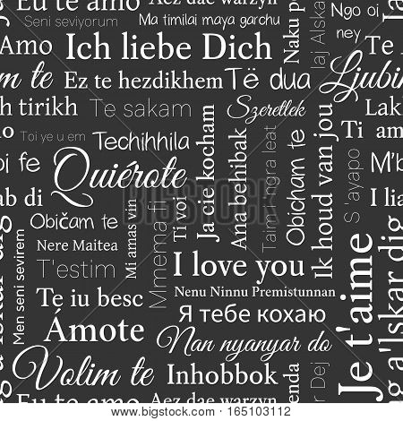 Word Cloud Pattern. Phrase I Love You In Different Languages Of The World. Vector Seamless Backgroun