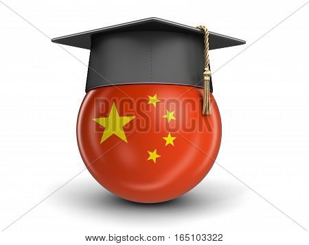 3D Illustartion. Graduation cap and Chinese flag. Image with clipping path