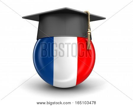 3D Illustartion. Graduation cap and French flag. Image with clipping path