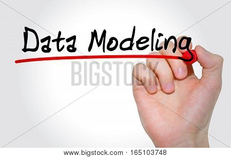 Hand writing inscription Data Modeling with marker concept