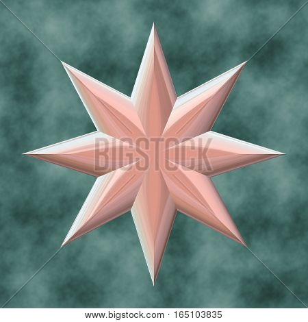 3d star on cloudy smoky indigo blue background