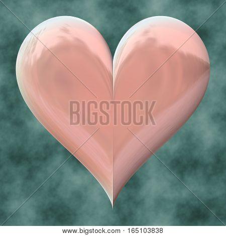 Light pink 3d heart on indigo background
