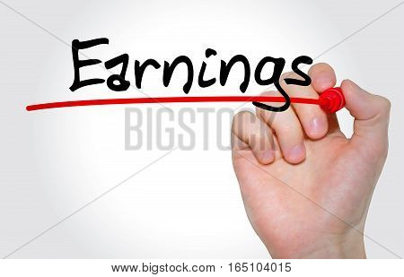 Hand Writing Inscription Earnings With Marker, Concept