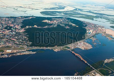 Aerial view of the city of Khanty-Mansiysk. This is the administrative center of Ugra the oil industry region in Russia.