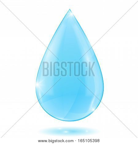 Water drop. Blue crystal water. Vector illustration isolated on white background