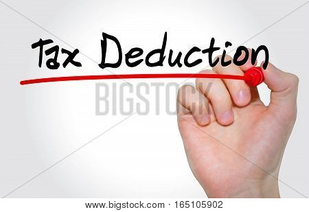 Hand Writing Inscription Tax Deduction With Marker, Concept