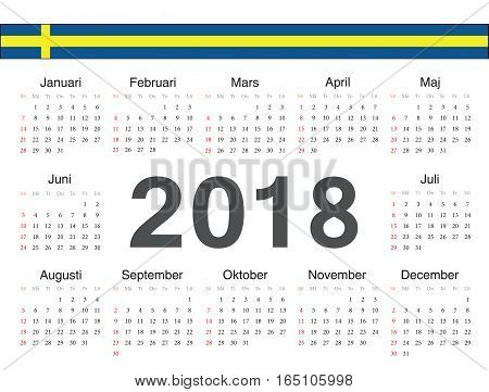 Vector Swedish Circle Calendar 2018