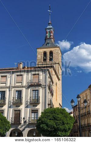 Segovia (Castilla y Leon Spain): historic buildings in the square known as Plaza Mayor