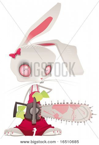 Horror bunny. Vector and cartoon illustration.
