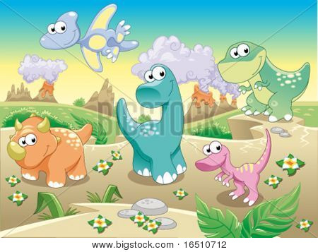 Dinosaurs Family with background. Funny cartoon and vector illustration. Isolated objects.