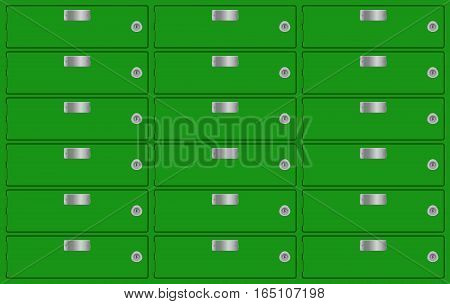 Bank lockers. Green deposit boxes. Vector illustration