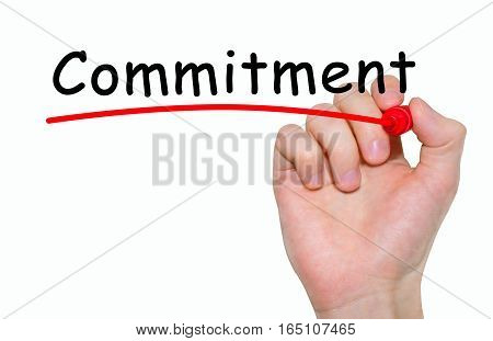 Hand writing inscription Commitment with marker concept