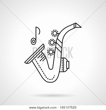 Symbol of sax or saxophone and one note. Jazz and orchestra melodies. Classic brass musical instruments theme. Flat black line vector icon.