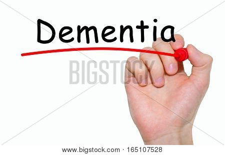 Hand Writing Inscription Dementia With Marker, Concept