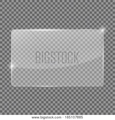 Transparent glass plate. Plastic baner. Vector illustration isolated