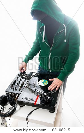 Club Dj at white background in green hoodie