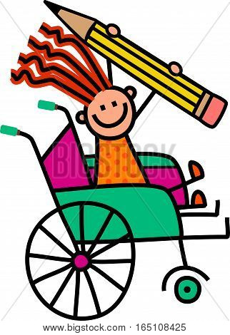 A cartoon childlike drawing of a happy disabled girl sitting in a wheelchair and holding a giant pencil.