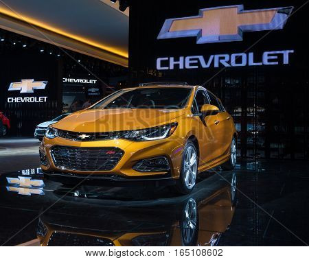 DETROIT MI/USA - JANUARY 9 2017: A 2017 Chevrolet Cruise Premier RS car at the North American International Auto Show (NAIAS).