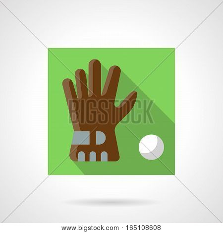 Single brown golf glove with white ball. Golfer accessories and equipment. Sport shop elements. Stylish square flat design green vector icon with long shadow.