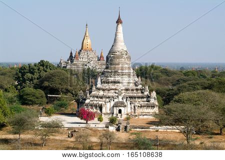 The temples of Tabaya and Ananda at the archaeological site of Bagan on Myanmar