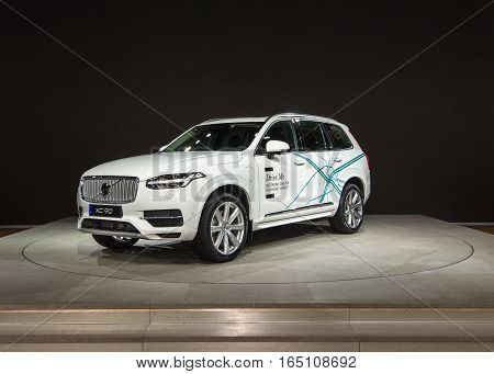 DETROIT MI/USA - JANUARY 10 2017: A Volvo XC90 Crossover at the North American International Auto Show (NAIAS).