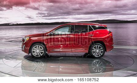 DETROIT MI/USA - JANUARY 10 2017: A 2018 GMC Terrain SUV at the North American International Auto Show (NAIAS).