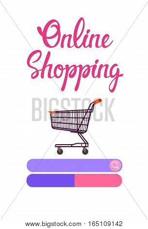 Online Shopping Cart Banner Ecommerce Concept Flat Vector Illustration