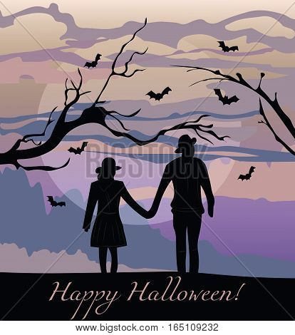 Scarecrows silhouette at sunset. Halloween Autumn background Vector
