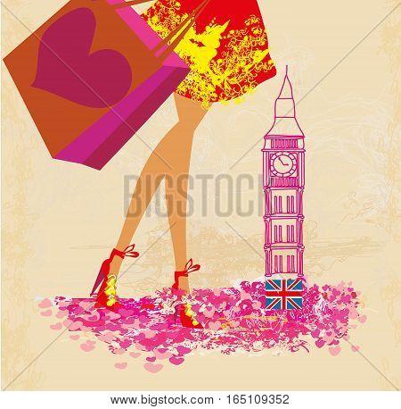 women Shopping in London - card , vector illustration