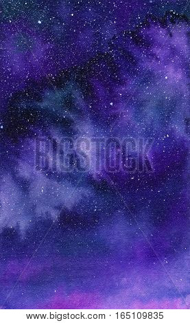 Galaxy or night sky. Watercolor space or cosmic background. Hand-drawn decorative element useful for invitations scrapbooking design. Real watercolor drawing