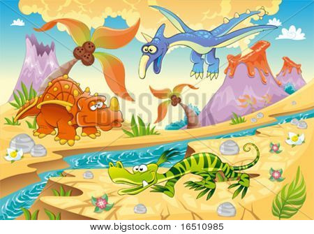 Monsters Dinosaurs with prehistoric background. Cartoon and vector illustration