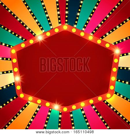 Retro Banner On Colorful Shining Background