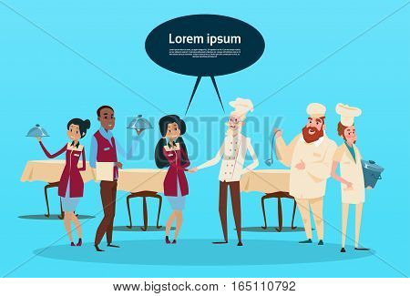 Restaurant Stuff Cook And Waiters Service Mix Race Group Cafe Interior Flat Vector Illustration