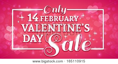 Template design Valentine banner. Happy valentine's day poster with decoration pink heart for sale. Romantic card with tinsel and heart decoration for holiday offer. On pink backgraund.