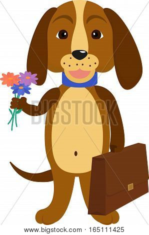 Illustration of a cartoon doggie. Dog back to school. Eager puppy to learn