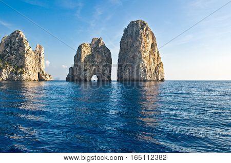 Italy Capri view of the famous Faraglioni rocks