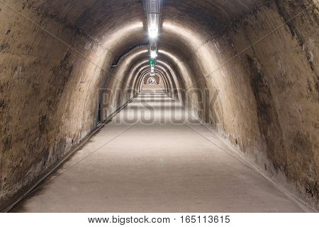 Old tunnel from WW2 under upper town in the center of Zagreb, Croatia poster