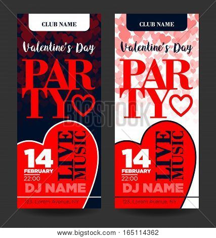 party flayer for valentine day with text and heart, vector illustration