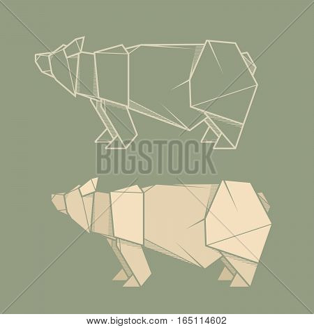 Set vector simple illustration paper origami and contour drawing of bear.